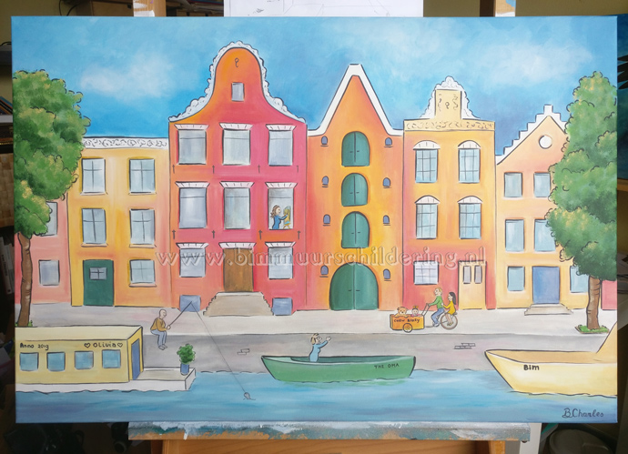 amsterdamse huisjes canvas