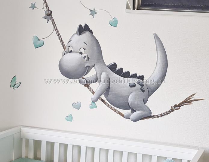 Verbazingwekkend Dirk Draak babykamer wanddecoratie, lief draakje op wolk ZJ-35