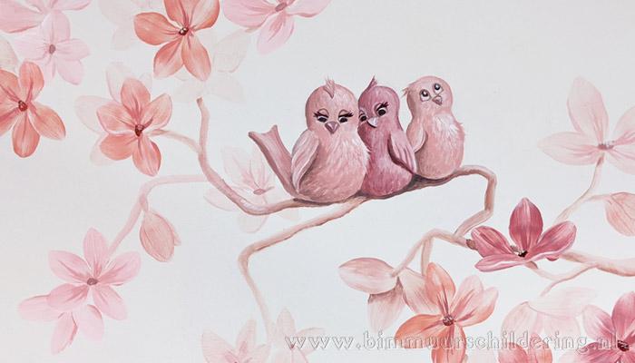 bloesemboom muurschildering