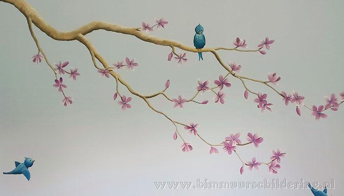 bloesemtak muurschildering
