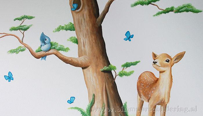hert boom wandschildering