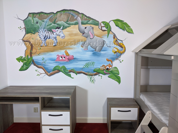 jungle cartoon kinderkamer