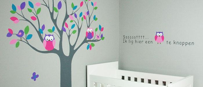 kinderkamer muurschildering, mooie babykamer muurtekeningen, Deco ideeën