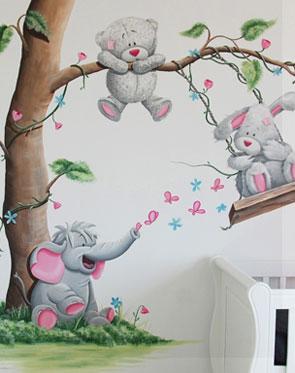 Kinderkamer muurschilderingen babykamer muurtekening elk ontwerp - Schilderij kamer ontwerp ...