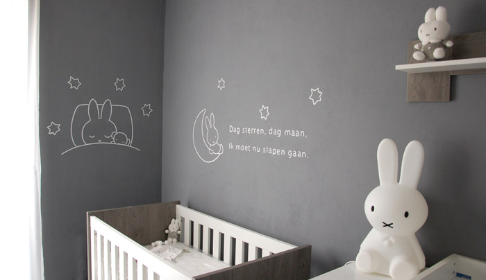 Nijntje babykamer nijntje wanddecoratie babykamer gedichtje - Grijs muurschildering ...