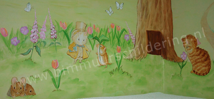 Peter Rabbit - Beatrix Potter babykamer muurschildering