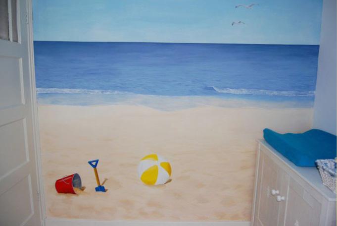 muurschildering van de zee en strand voor in de babykamer, Deco ideeën
