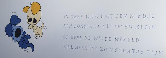 muurschildering woezel en pip met tekst in babykamer jongetje, Deco ideeën