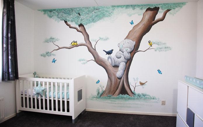 boom muurschildering met diertjes: eekhoorn en vogels, Deco ideeën