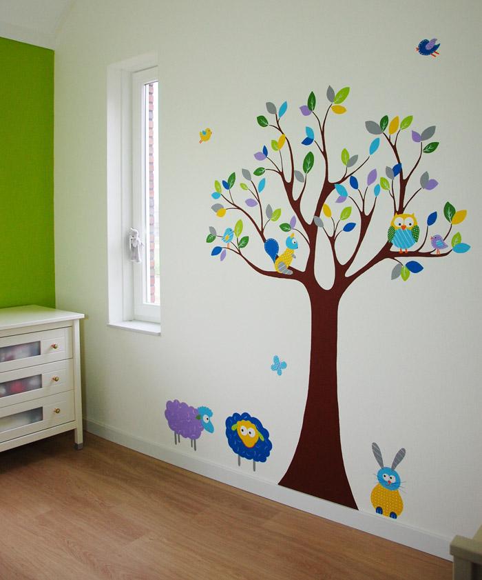 boom met dieren babykamer: in elke kleur, met leuke diertjes, Deco ideeën