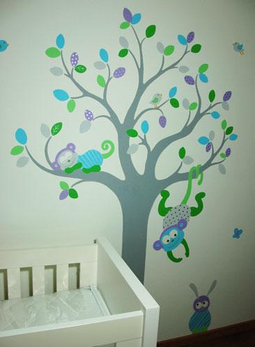 vrolijke babykamer boom met safari dieren muurschildering, Deco ideeën
