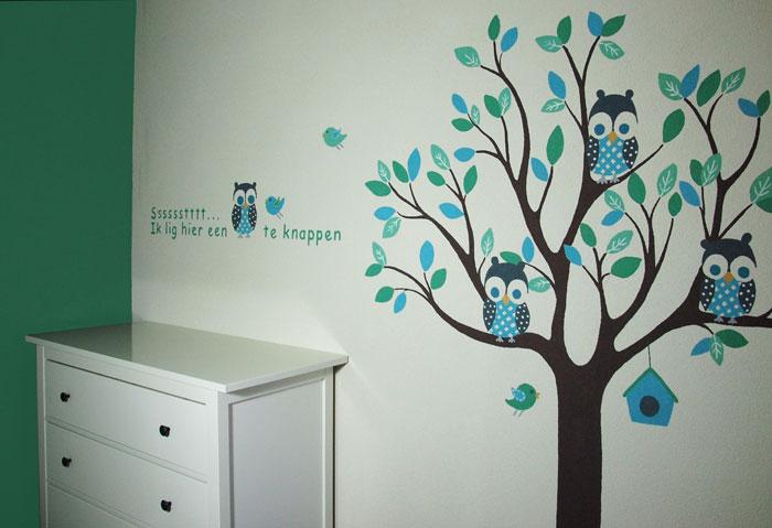 babykamer boom muurschildering dieren uiltjes vogeltjes, Deco ideeën