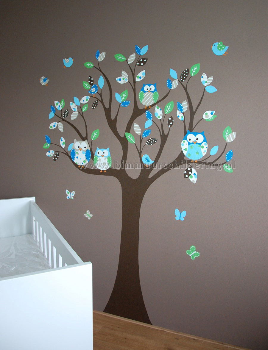 Wanddecoratie Babykamer Boom.Babykamer Boom Muurschildering Met Uiltjes En Vogels
