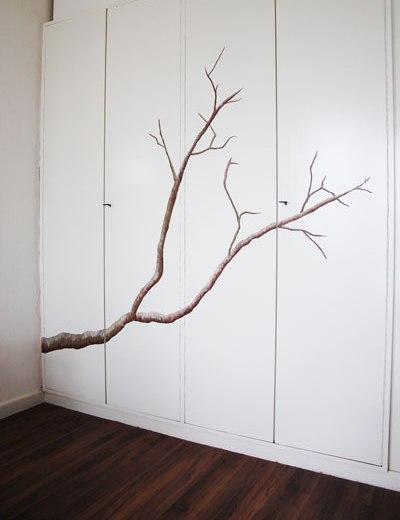 Boomtak muurschildering - tak van een boom wanddecoratie