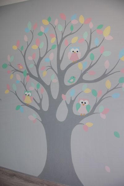 grote babykamer boom met uiltjes, Deco ideeën