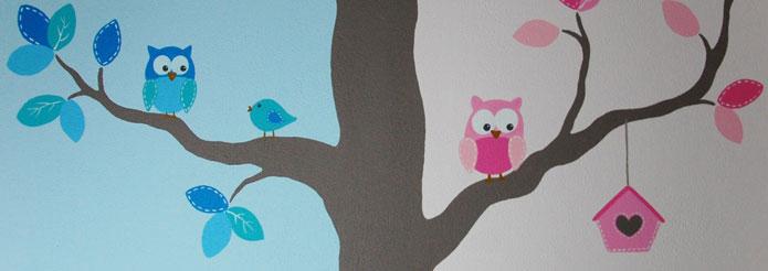 kinderkamer boom voor een jongen en meisje, Deco ideeën