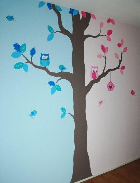 Kinderkamer boom voor een jongen en meisje - Blauwe en grijze jongens kamer ...
