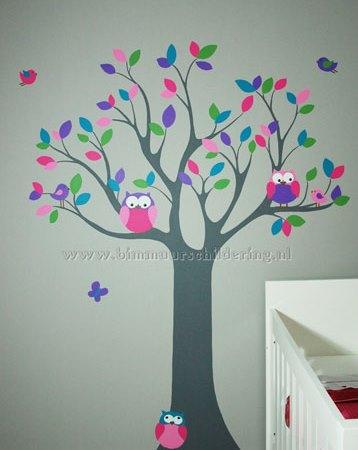 Boom muurschildering gestileerde boom sprookjesboom for Muurtekeningen woonkamer