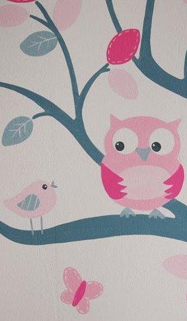 Babykamer kleuren muur nl loanski behang voor kinderkamer babykamer ledikant en commode - Thema slaapkamer meisje ...
