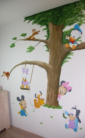 Baby Disney muurschildering babykamer Mickey Minnie Donald Duck