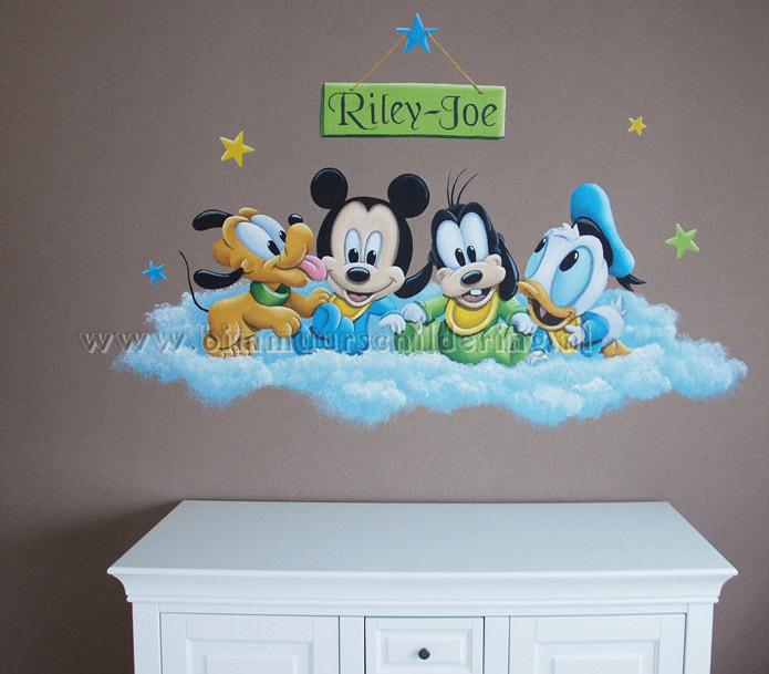 baby disney muurschildering babykamer mickey minnie donald duck, Deco ideeën