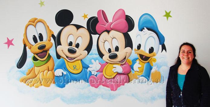 baby disney muurschildering babykamer mickey minnie donald