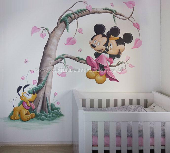 Extreem Muurschildering van Mickey en Minnie Mouse - Disney favorieten TU85