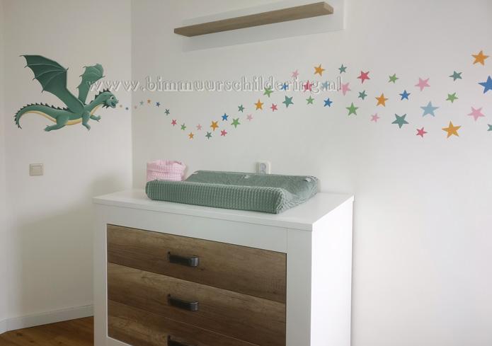 Babykamer Behang Sterren : Originele sterren babykamer op maat gemaakt