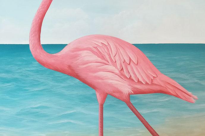 Muurschildering van de zee en strand voor in de babykamer
