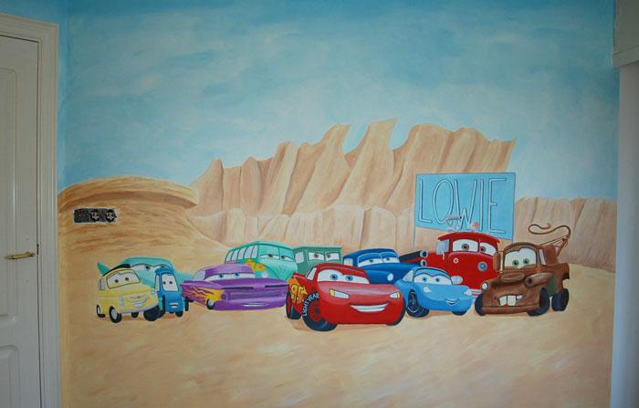 Cars jongenskamer muurschildering auto s kinderkamer