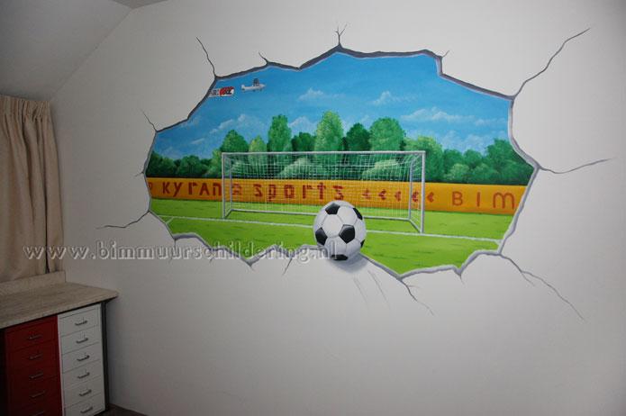 Voetbal kinderkamer muurschildering for Muurtekeningen woonkamer