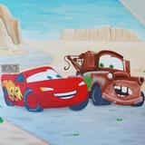 cars jongenskamer muurschildering