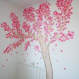 roze fantasieboom meisjeskamer