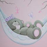Forever Friends muurschildering in babykamer