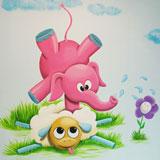 kinderspeelruimte wanddecoratie gekke grappige dieren