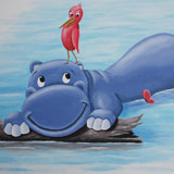 nijlpaard babykamer muurschildering