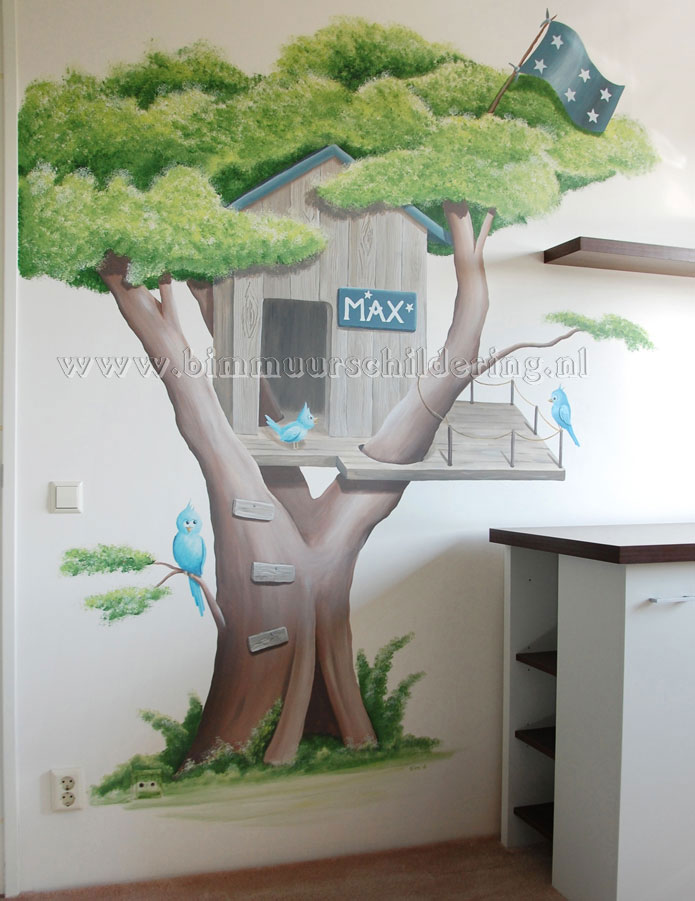 boomhut kinderkamer muurschildering, Deco ideeën