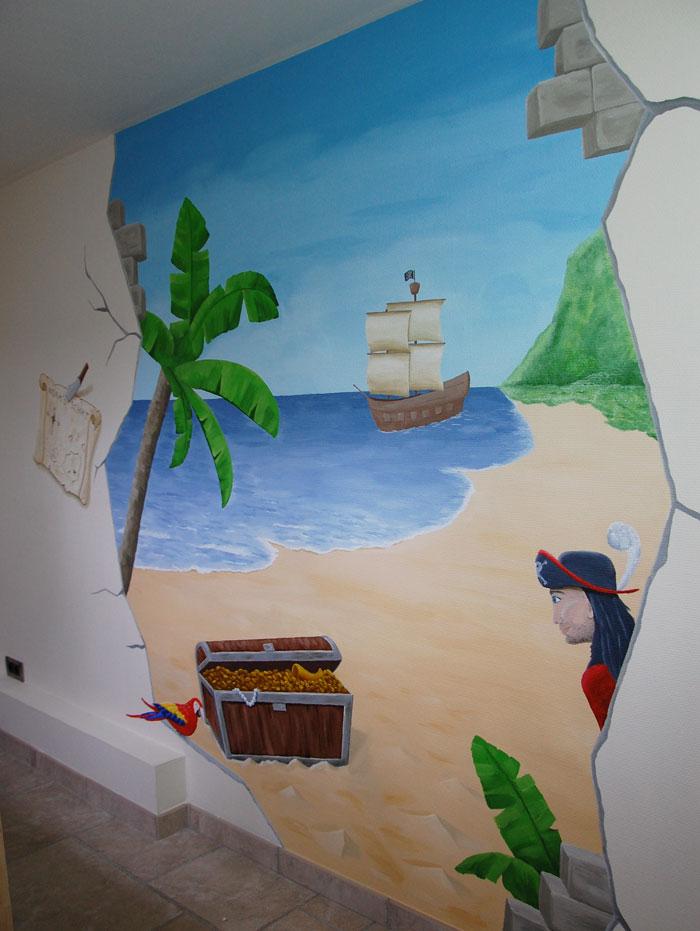 Piraten kinderkamer jongenskamer muurschildering piraat - Kamer van de jongen ...