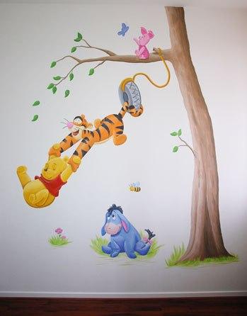 Muurschildering winnie the pooh kinderkamer muurtekening babykamer - Afbeelding babykamer ...