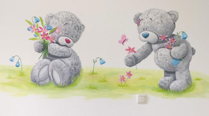 Muurschildering babykamer woezel en pip muurschilderingen borgje creaties slaapkamer meubels - Grijs muurschildering ...