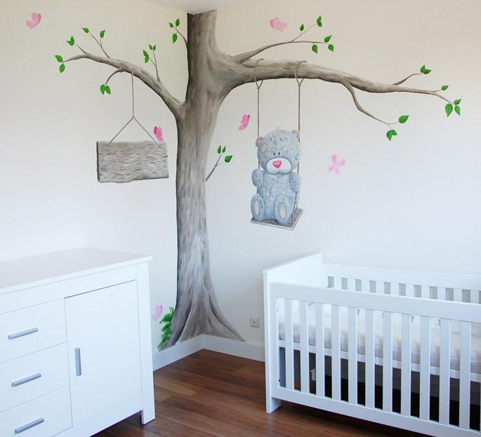 Boom Voor Babykamer.Me To You Beertjes Met Boom Muurschildering Babykamer