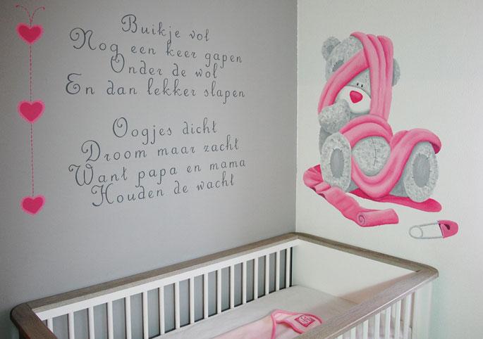 me 2 you babykamer muurschildering op structuurverf structuur, Deco ideeën