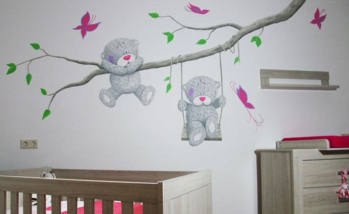 Schommel In Kinderkamer : Me2you babykamer muurschildering variaties beer op schommel
