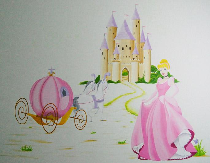 Prinses sprookjeskasteel bijzondere disney muurschildering - Kamer paard meisje ...