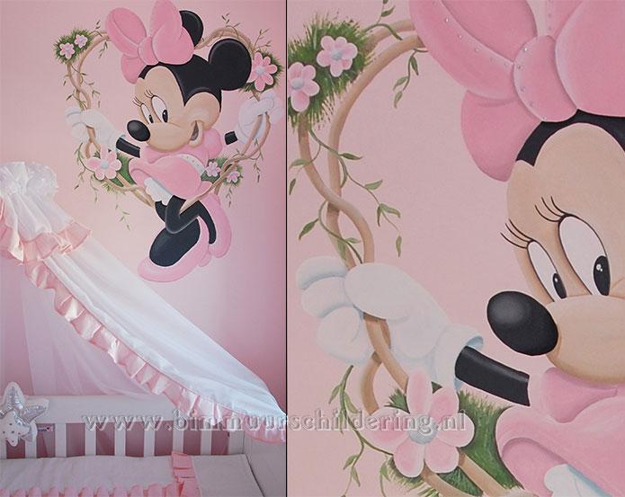 Extreem Minnie Mouse meisjeskamer muurschildering QJ23