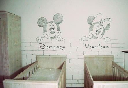 Muurtekening Mickey Minnie Mouse babykamer geboortekaartje schets