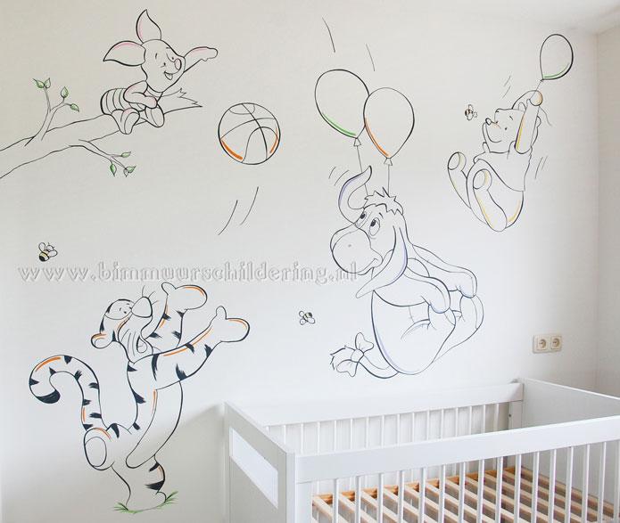 Muurstickers Babykamer Tijgertje.Muurschildering Winnie The Pooh Kinderkamer Muurtekening Babykamer