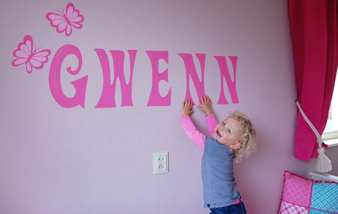 Naam op muur kinderkamer babykamer muurtekst