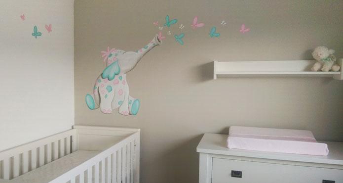 olifantjes muurschildering, vrolijke olifant voor in de babykamer, Deco ideeën