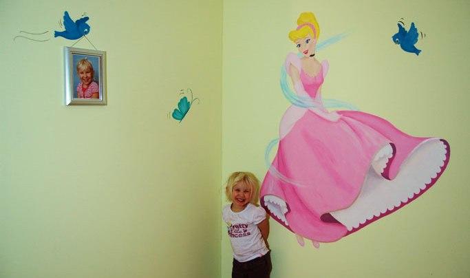 Assepoester Disney prinses muurschildering prachtige meisjeskamer